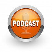 podcast orange glossy web icon