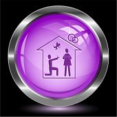 Home affiance. Internet button. Raster illustration.