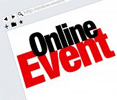 Online Event words on an internet website advertising or promoting a digital meeting