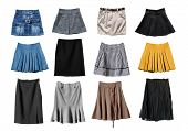 picture of jeans skirt  - Set of various skirts on white background - JPG