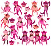 stock photo of sock-monkey  - Collection of Girly Themed Sock Monkey Vectors - JPG