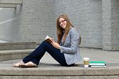 Woman Student Studying On Campus