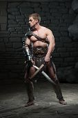 Постер, плакат: Gladiator with two swords