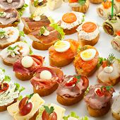 Meat, Fish and Cheese Canapes
