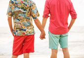 Young happy gay couple on the beach