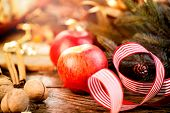 picture of hazelnut tree  - New Year holiday table setting - JPG