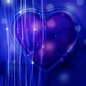 Abstract Pink Heart Blue Background