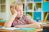 Elementary schoolboy sitting at lesson and looking aside