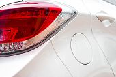 Close Up Look Of A Taillight Of A White Car