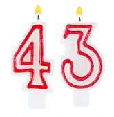 Birthday Candles Number Forty Three Isolated