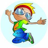stylish boy jumping