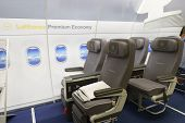 LEIPZIG, GERMANY - SEP 11: Lufthansa premium economy class interior on September 11, 2014. Lufthansa is the flag carrier of Germany and also the largest airline in Europe