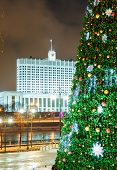Christmas Tree And Architecture Of Moscow