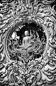 Thai Buddha Statue Black And White