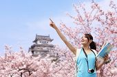 Happy Travel Woman With Sakura Tree