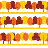 Different Trees Natural Seamless Pattern Background Vector Illus