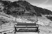 Abandoned Chairlift In Whistler Mountains. British Columbia. Canada