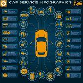 Car Service, Repair Infographics