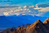 Himalayas mountains on sunset. Ladakh, Jammu and Kashmir, India