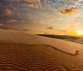 picture of dune  - White sand dunes on sunrise - JPG
