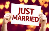 Just Married card with heart bokeh background