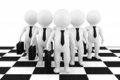 3D Businessmans Stand On The Chessboard