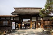 TAKAYAMA, JAPAN - DECEMBER 03, 2014: View of Takayama Jinya house shows the exterior and gardens. It is the home of the governor of Hida province build in 1692, is the oldest surviving house in Japan.
