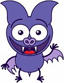 Purple bat waving and greeting