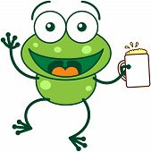 stock photo of glass frog  - Cute green frog with bulging eyes and long legs while waving and holding a glass of beer as for celebrating something vector - JPG