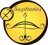 Stylized Zodiac Signs In A Yellow Circle - Sagittarius.eps