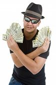 image of pimp  - man with a lot of 100 dollar bills isolated on white background - JPG