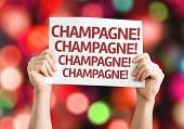 Champagne! Champagne! Champagne! card with colorful background with defocused lights