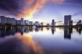 Orlando, Florida, USA downtown city skyline at Lake Eola.