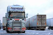 Fleet Of Scania Trailer Trucks On Icy Yard