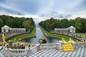 Fountains Grand Cascade In Peterhof, Saint Petersburg, Russia