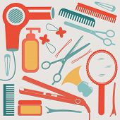 A colorful hairdressing equipment collection