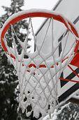 Snowy basketball hoop
