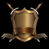 Gold Riveted Shield With Gold Ribbon And Swords.
