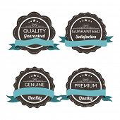 Collection of vintage label, sticker or tag with ribbon and space for your text on white background.