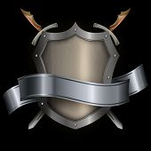Silver Riveted Shield With Silver Ribbon And Two Swords.