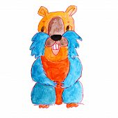 watercolor drawing hamster isolated on white background