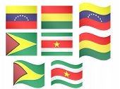 South America Flags - Venezuela, Bolivia, Guyana, Suriname
