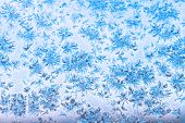 View Of Blue Sky Through Snowflakes And Frost