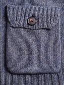 Dark Blue Knitting Woolen Pocket With Button