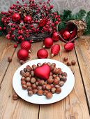 Plate With Nuts And Christmas Toy