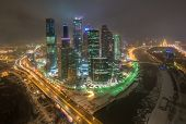 MOSCOW, RUSSIA - DEC 02, 2014: Building of Moscow International Business Center (Moscow-City) on the background of the city at night in winter
