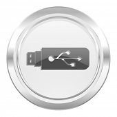 usb metallic icon flash memory sign