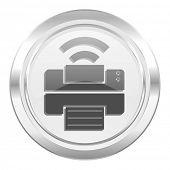printer metallic icon wireless print sign