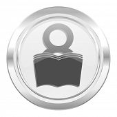 book metallic icon reading room sign bookshop symbol