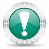 exclamation sign green icon, christmas button, warning sign